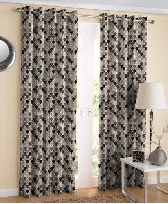 Suam Jacquard Black Self Design Eyelet Door Curtain