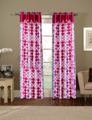 Parabdhani Fashion Polyester White Abstract Ring Rod Door Curtain