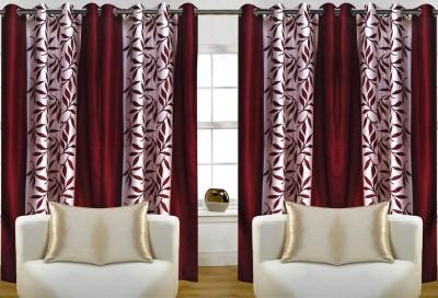 Thiwas Polyester Maroon Printed Eyelet Long Door Curtain