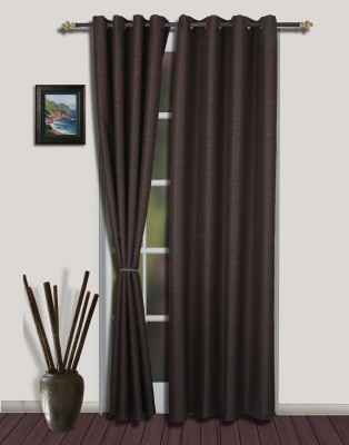 S9home by Seasons Polyester Brown Floral Eyelet Door Curtain