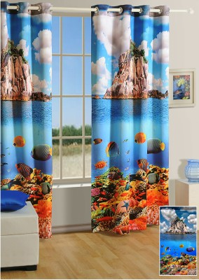 Swayam Silk Orange, Blue, White Printed Eyelet Window Curtain