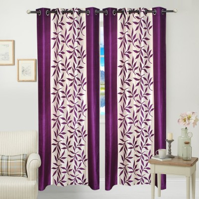 Jars Collections Polyester Purple Floral Eyelet Door Curtain
