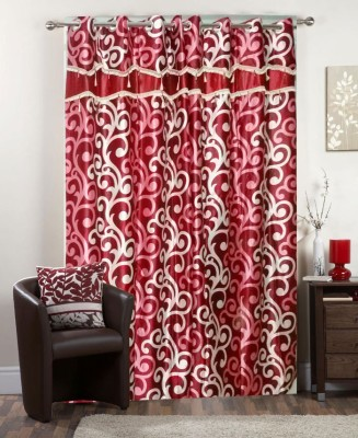 I-LivSmart Polyester Red Printed Curtain Window & Door Curtain