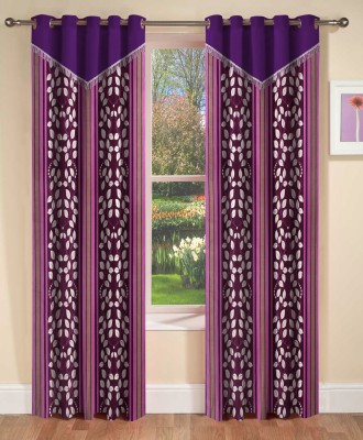 Home Cloud Polyester Wine Abstract Eyelet Window Curtain