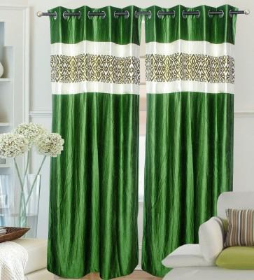 Decor Vatika Polyester Green Abstract Eyelet Long Door Curtain