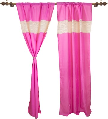 VKE Product Polyester, Cotton Pink & Natural Solid Rod pocket Door Curtain