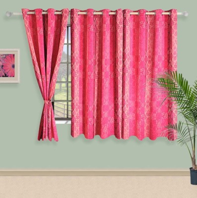 Swayam Satin, Silk Pink Printed Eyelet Window Curtain