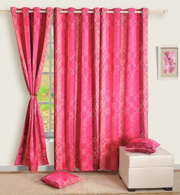 Swayam Satin, Silk Pink Printed Ring Rod Door Curtain