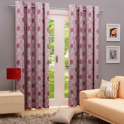 Angrezi Home Polyester Maroon Floral Eyelet Window & Door Curtain
