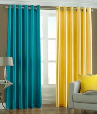 Jai Ganga Polyester sky and yellow Plain Curtain Door Curtain