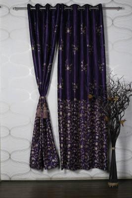 Homelife Jacquard Purple Self Design Eyelet Window Curtain