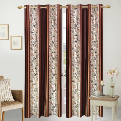 Handy Texty Polyester Multicolor Printed Eyelet Long Door Curtain