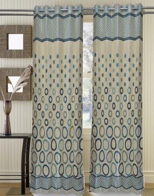 Muktha Fabric Polyester Multicolor Self Design Eyelet Window Curtain