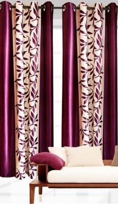 RK Home Furnishing Polycotton Wine Plain Eyelet Long Door Curtain