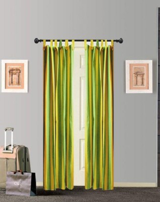 Tidy Cotton Green Striped Tab Top Door Curtain