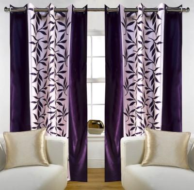 Rk Home Furnishing Polycotton Wine Plain Eyelet Door Curtain