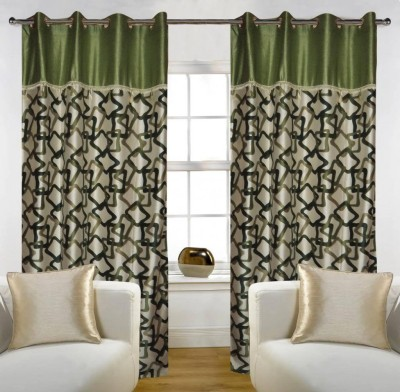 Home Candy Polyester Green Solid Eyelet Door Curtain