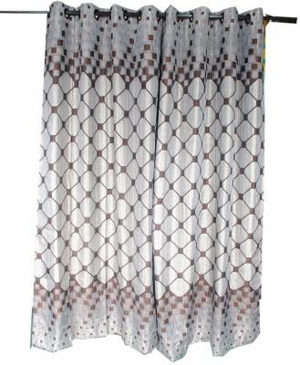 Krishna Handloom Centre Cotton Brown Checkered Eyelet Door Curtain
