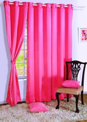Homec Polyester Pink Solid Eyelet Window Curtain