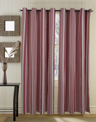 Home Boutique Cotton Red, White Striped Eyelet Door Curtain