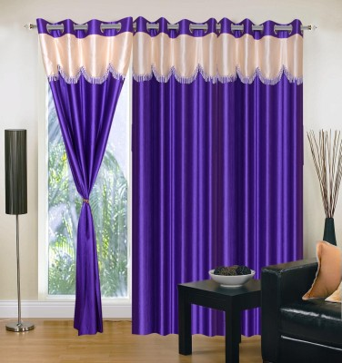 Homesazz Polyester Blue Solid Eyelet Door Curtain