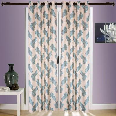 SWHF Cotton Dark Green Floral Eyelet Window & Door Curtain