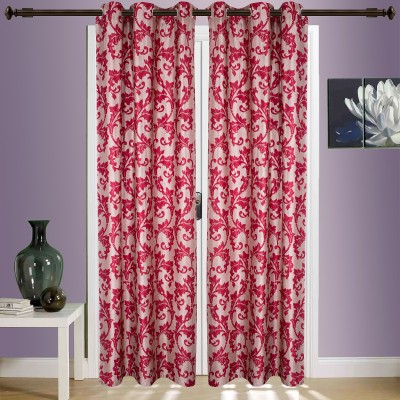 SWHF Cotton Red Floral Eyelet Window & Door Curtain