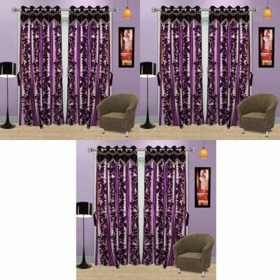 Go Decore PVC Purple Self Design Ring Rod Door Curtain