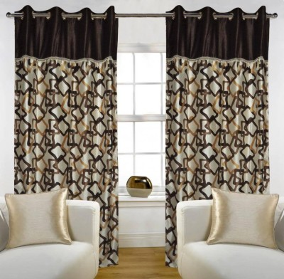 Home Candy Polyester Brown Geometric Ring Rod Long Door Curtain