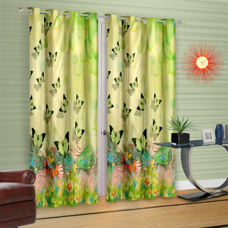 Cortina Polyester Green Printed Eyelet Door Curtain(210 cm in Height, Single Curtain)