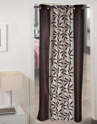 AJ Retails Polyester Attractive Brown, Chic White Floral Eyelet Door Curtain
