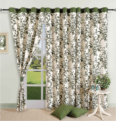 Swayam Cotton Beige, Green Solid Eyelet Window Curtain