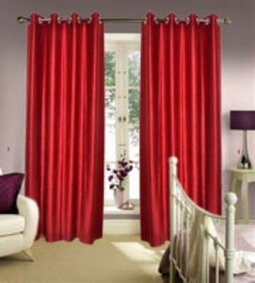 Chaitnya Handloom Polyester Red Plain Eyelet Door Curtain