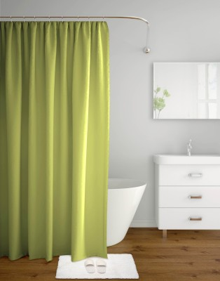 Tangerine Polyester Green Solid Curtain Shower Curtain