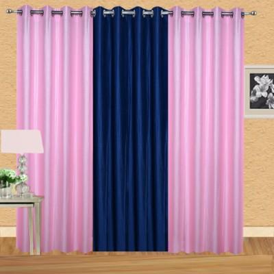 Excel Bazaar Polycotton Lightpink-1neavyblue Plain Eyelet Door Curtain