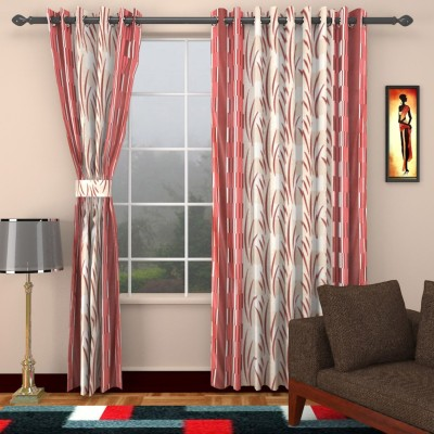 HomeTex Polycotton Red Printed Eyelet Long Door Curtain