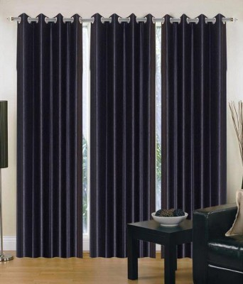 Home Fashion Gallery Polyester Black Plain Eyelet Window Curtain