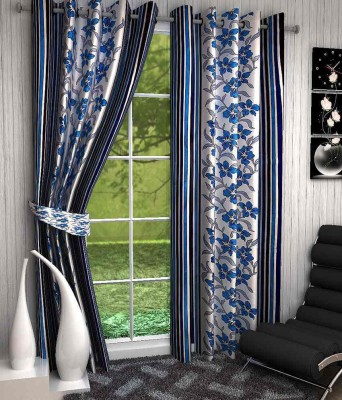 Click Weaves Polyester Blue Floral Eyelet Window & Door Curtain