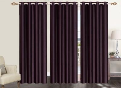 Furnishing Zone Polyester Brown Plain Eyelet Long Door Curtain