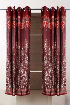 the handloom store Polycotton Maroon Abstract, Self Design Eyelet Door Curtain