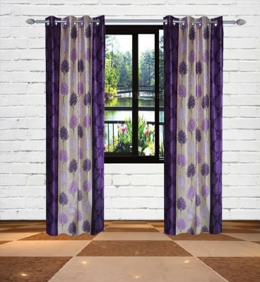 Gaurav Curtains Polyester Purple Floral Eyelet Window & Door Curtain