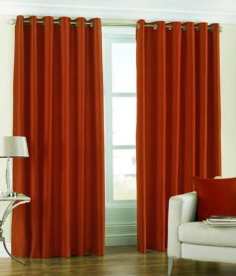 BSB Trendz Polyester Orange Plain Eyelet Door Curtain