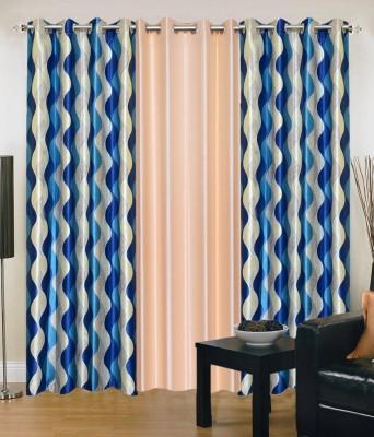 Shopgrab Polyester Blue, Beige Printed Eyelet Door Curtain