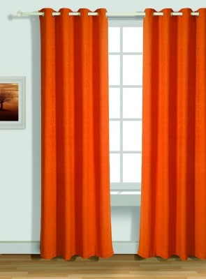 House This Cotton Red Solid Eyelet Window Curtain