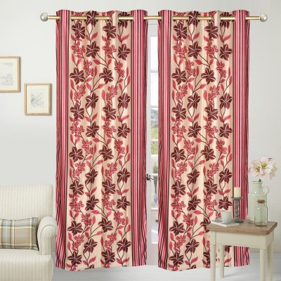 Home Fashion Polyester Red Floral Eyelet Door Curtain