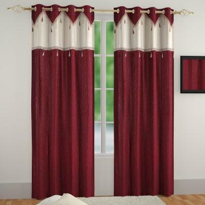 Muren Polyester Marron Self Design Eyelet Door Curtain