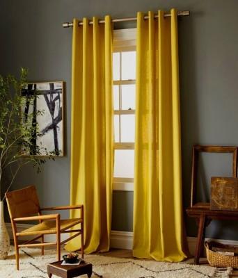Sai Arpan Polyester Yellow Plain Eyelet Door Curtain