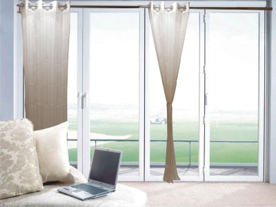 Furnishing Centre Polyester White Striped Eyelet Window Curtain