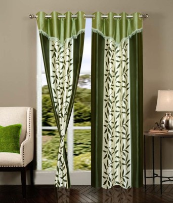 Deco Home Polyester Green Printed Eyelet Door Curtain