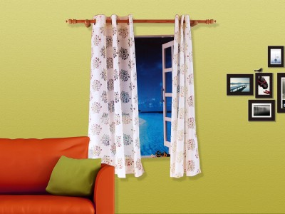 Veer Creations Polycotton Multicolour Floral Eyelet Window Curtain